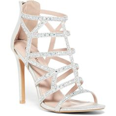 Top Moda Bice Caged Stiletto Sandal ($27) ❤ liked on Polyvore featuring shoes, sandals, silver, sexy stilettos, rhinestone sandals, embellished sandals, sparkly sandals and open toe sandals