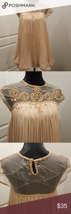 GORGEOUS EMBELLISHED BABY DOLL PLEATED DRESS WORN ONCE   Perfect for holidays or a special occasion   Blush/beige color Dresses Mini