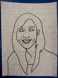 Art. Paper. Scissors. Glue!: Chuck Close Portraits: In each box, draw a shape or pattern. 15 patterns-just repeat them.