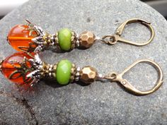 green peridot gemstone and orange beaded by JessicasJewles on Etsy, $15.00