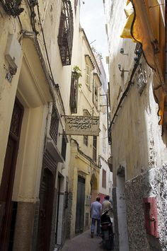 A narrow street in the Medina,Tangier Called Zankat Wahid, which means one person's street as it is the narrowest street in Tangier.