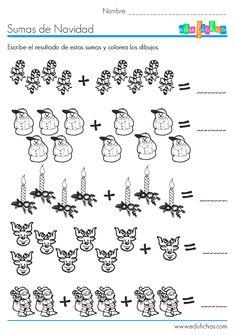 Sumas visuales de Navidad  http://www.edufichas.com/actividades/matematicas/sumas/sumas-visuales-navidad/  #navidad #sumas #ejercicios #niños