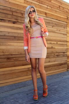 -Neutral dress with pops of neon orange & pink; Love these colors together ❤