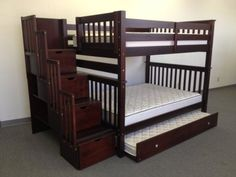 Amazon.com - Bedz King Full Over Full Stairway Bunk Bed with Twin Trundle, Cappuccino - Full Size Bunk Beds