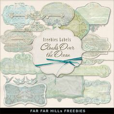 Far Far Hill - Free database of digital illustrations and papers: Freebies Kit of Labels - Clouds Over the Ocean