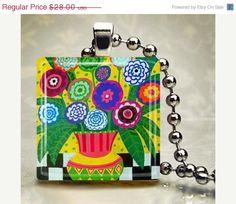 50 OFF SALE  Flower Jewelry Pendant Necklace by HeatherGallerArt, $14.00