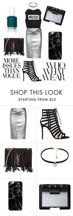 """SILVER CHIC"" by tagirova-nurane ❤ liked on Polyvore featuring Joseph, Gianvito Rossi, Yves Saint Laurent, Luiny, NARS Cosmetics, Essie, Wassup and Karl Lagerfeld"