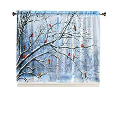 Collections Etc Cardinal Scene Decorative Seasonal Drapes - Winter Decor for Any Room in Home Amazon Image, Beautiful Curtains, Collections Etc, Drapes Curtains, Seasonal Decor, Window Treatments, Decorative Throw Pillows, Image Link, Scene