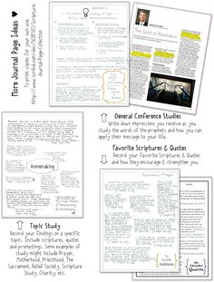 Scripture Journal Page ideas.  i.e. topic, character, conference talk, timeline, etc.
