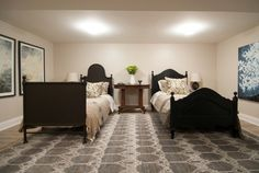 Shared kids room - two twin beds. Basement Guest Rooms, Basement House, Income Property Hgtv, Home Bedroom, Bedroom Decor, Bedroom Ideas, Two Twin Beds, Shared Rooms, Kids Room Design