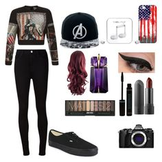 """""""Mrs all American"""" by lovelymuffin27 ❤ liked on Polyvore featuring FAUSTO PUGLISI, AG Adriano Goldschmied, Vans, Marvel Comics, Casetify, Happy Plugs, LORAC, Olympus and Thierry Mugler"""