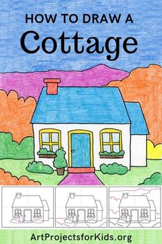 Learn how to draw a Cottage with this fun and easy art project for kids. Simple step by step tutorial available. Easy Art Projects, Drawing Projects, Drawing Lessons, Projects For Kids, Art Lessons, Painting For Kids, Art For Kids, Easy Drawings For Kids, House Drawing For Kids