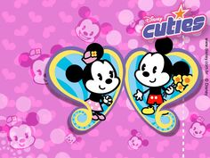 Cartoons Wallpaper: Disney Cuties - Mickey and Minnie