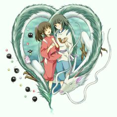 Spirited Away. Oh, how I love this movie. Perfect fanart :)