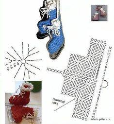 Crochet Ice Skates Christmas Ornaments