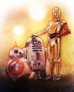 C-3PO, R2-D2 & BB-8 Star Wars: The Force Awakens Illustration - Paul Shipper