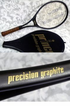 Sold Vintage 1983 PRINCE PRECISION GRAPHITE Tennis Racket 4 3/8 with Original Cover.