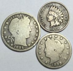Coin lot w/ 1894 Barber quarter, Indian Head penny + Liberty V 5¢. Take a LOOK!