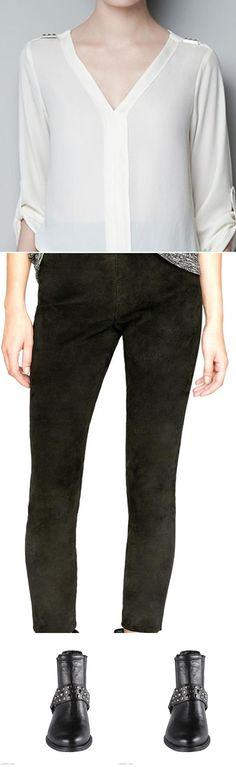 Zara top, JCrew: Collection stretch suede leggings, Little Burgundy Shoes: BINNINGEN