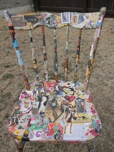 Decorative Wooden Collaged Chair Collage by mrsfishesfunkystuff, $130.00, but I can do this! Love old wood chairs to recycle