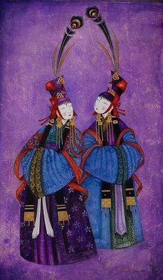 ZAYA - Zayasaikhan Sambuu, Mongolian painter | Two ladies, 2008