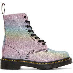 Dr. Martens Multicolor Pascal Rainbow Glitter Boots (405 BRL) ❤ liked on Polyvore featuring shoes, boots, ankle booties, multicolor, round toe boots, round toe booties, genuine leather boots, rainbow boots and high ankle booties