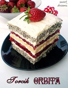 Torcik ORBITA Polish Desserts, Polish Recipes, No Bake Desserts, Delicious Desserts, Baking Recipes, Cake Recipes, Dessert Recipes, Baking Cupcakes, Cupcake Cakes