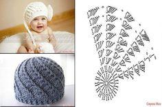 Hats Crochet Patterns Part 6 - Beautiful Crochet Patterns and Knitting Patterns Crochet Baby Hat Patterns, Crochet Cap, Crochet Baby Hats, Crochet Beanie, Crochet Motif, Diy Crochet, Crochet Stitches, Knitting Patterns, Baby Hats Knitting