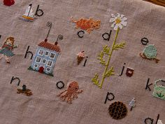 New sampler in the works - not the finished product yet but oh so cute already ;) , Design by Alicia Paulson Cross Stitch Samplers, Cross Stitches, Cross Stitch Embroidery, Embroidery Patterns, Hand Embroidery, Stitch Witchery, Getting Cozy, Buckets, Pouches