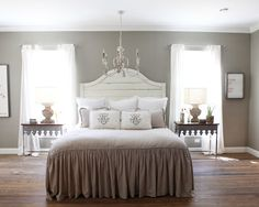 Bedroom Design, Exciting Farmhouse Bedroom For Bedroom Remodeling Ideas With Light Gray Wall Paint Color Also Elegant Queen Size Bed With Light Brown Quilt Color And Cushions And White Pillow And Comely Antique Chandelier: Beautiful Bedroom Remodel Ideas