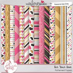 For your love {Patterned Papers} from Aurelie Scraps. This beautiful gold, pink and black color palette is perfect for love inspired digital scrapbooking layouts and more.