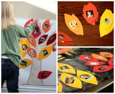 Fall Family Tree Sticky Wall Activity | Family Your Way. A fun way to create and talk about friends and relatives. What other activities could you do with a Fall tree sticky wall?