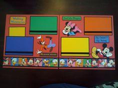 "New Disney Characters 2 Page 12""x12"" Scrapbook Layout w Mickey Minnie Goofy | eBay"