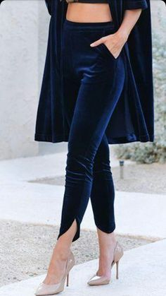 Navy velvet clothes Button trousers outfit ideas for women. Cute valentines day Source by devonyeb ideas pantalon Fashion Pants, Look Fashion, Indian Fashion, Fashion Dresses, Fashion Ideas, Women's Clothing Fashion, Navy Clothing, Fashion 1920s, Sporty Fashion