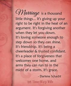 Marriage is a thousand little things...
