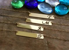 Gold Initial Necklace; Personalized Gold Bar Necklace; Initial Bar; Cut Out Letter; Gold Filled Bar Necklace; Personalized Necklace;