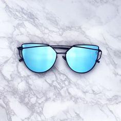 9eaca54f973 Sequin Sand pacific blue mirrored lenses black double frames cat eye  sunglasses Cute Sunglasses