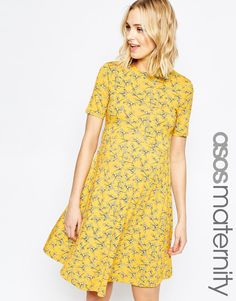 ASOS+Maternity+Skater+Dress+in+Chartreuse+Floral+Print