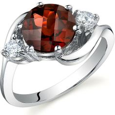 3 Stone Design 2.25 carats Garnet Ring in Sterling Silver Rhodium Finish Size 5 to 9 - Fashion Jewelry