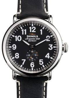 ed3e46a9 Shinola Runwell 47mm, Black Dial, Black Leather Strap #MensWatches Shinola  Runwell, Stainless