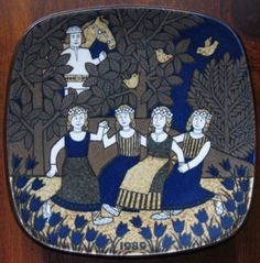 Arabia Finland Kalevala wall plate from Finnish Raija Uosikkinen, annual plates in mint condition based on the epic poetry by Elias Lönnrot Ceramic Plates, Porcelain Ceramics, Scandinavian Folk Art, Nordic Home, Christmas Plates, Plate Design, Plates On Wall, Decorative Objects, Pottery