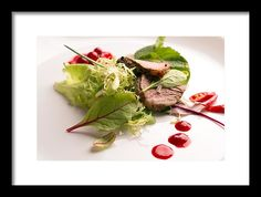 Vadim Goodwill Framed Print featuring the photograph Fresh Warm Salad With Roasted Beef by Vadim Goodwill #VadimGoodwillFineArt #Foodphotography #Artforhome  #Salad