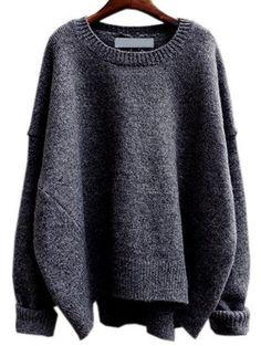 Grey Round Neck Split Loose Sweater