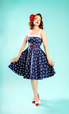 Pinup Couture netti dress in anchor