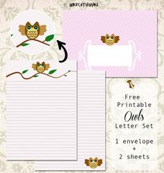 Wreck This Girl's Mailbox: freebie friday XI Free Printable Stationery, Free Poster Printables, Printable Letters, Stationery Set, Owl Classroom, Classroom Ideas, Snail Mail Pen Pals, Whimsical Owl, Letter Set