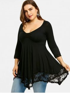906babd9a1 Plus Size Empire Waist Lace Trim Handkerchief T-shirt White Maternity  Dresses