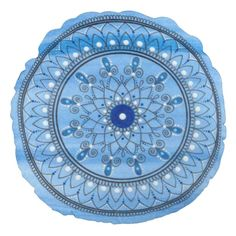 Shop Hand Drawn Pretty Blue And White Mandala Flower Round Pillow created by zedart. Paint Background, Round Pillow, Flower Mandala, Soft Pillows, Mandala Design, Poster Prints, Posters, Hand Drawn, How To Draw Hands
