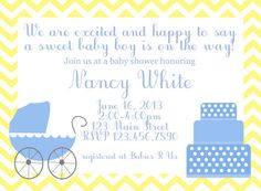 Baby shower invitation https://www.etsy.com/listing/156199652/blue-and-yellow-chevron-baby-boy-shower?ref=related-1