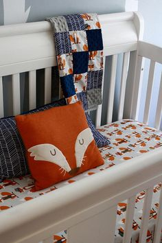 Fox Nursery Set Product: One fox crib sheet one quilted baby blanket one fox b Fox Themed Nursery, Woodland Nursery Boy, Fox Nursery, Nursery Neutral, Nursery Themes, Nursery Ideas, Baby Bedroom, Baby Boy Rooms, Baby Boy Nurseries