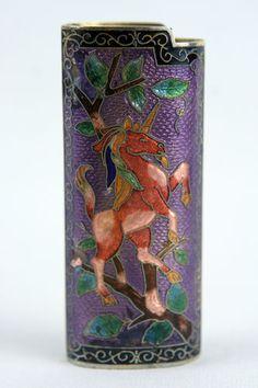 Vintage Cloisonne enamel BIC Cigarette Tobacco Lighter Case Cover Holder Pocket - biddinf start at $24.99
